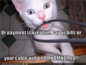 Ur payment iz overdue. Pay ur billz or your cable will be OMNOMNOMed!!