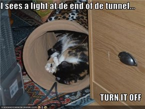 I sees a light at de end of de tunnel...  TURN IT OFF
