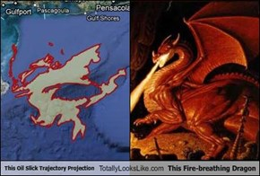 This Oil Slick Trajectory Projection Totally Looks Like This Fire-breathing Dragon