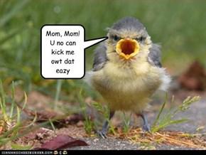 Mom, Mom!  U no can kick me owt dat eazy