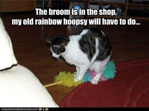 The broom is in the shop,  my old rainbow hoopsy will have to do...