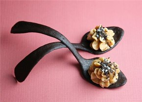Peanut Butter Mousse in Cookie Spoons