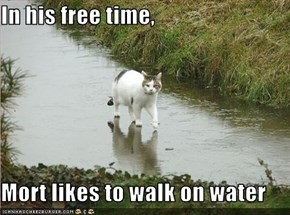 In his free time,  Mort likes to walk on water