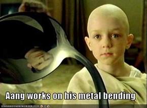 Aang works on his metal bending