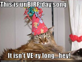 This is ur BIRF-day song  It isn't VE-ry long...hey!