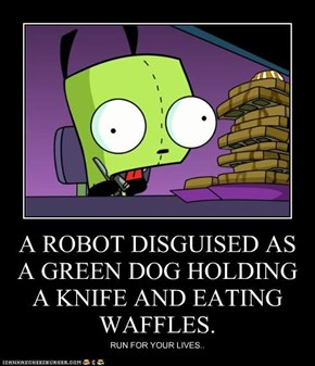 A ROBOT DISGUISED AS A GREEN DOG HOLDING A KNIFE AND EATING WAFFLES.