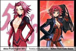 Akiza from Yugioh 5D's Totally Looks Like Kallen from Code Geass