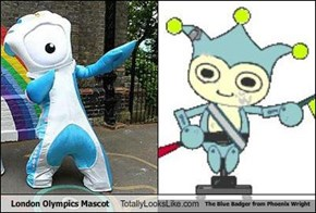 London Olympics Mascot Totally Looks Like The Blue Badger from Phoenix Wright