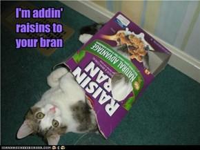 I'm addin' raisins to your bran