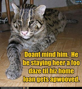 Doant mind him.  He be staying heer a foo daze til hiz home loan gets apwooved.
