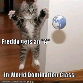 "Freddy gets an ""A"" in World Domination Class."