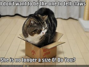 I don't want to be the one to tell claws  She is no longer a size 0! Do You?