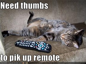 Need thumbs  to pik up remote