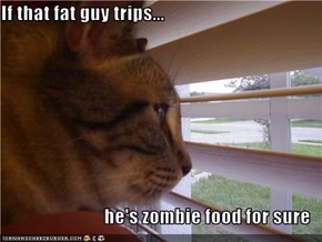 If that fat guy trips...  he's zombie food for sure