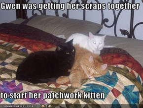 Gwen was getting her scraps together  to start her patchwork kitten