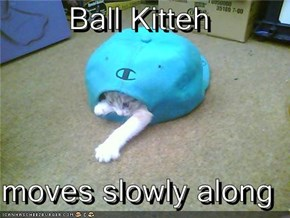 Ball Kitteh  moves slowly along