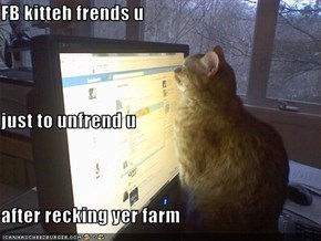 FB kitteh frends u just to unfrend u after recking yer farm