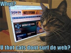 Whut?  U thot cats dont surf de web?
