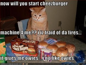 now will you start cheezburger machine 4 me?? i iz fraid of da fires... it gives me owies ...i no like owies