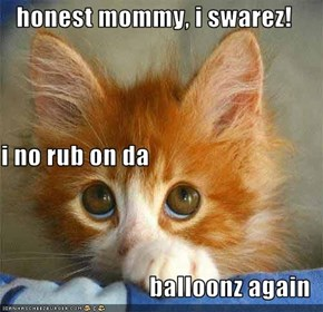 honest mommy, i swarez! i no rub on da balloonz again