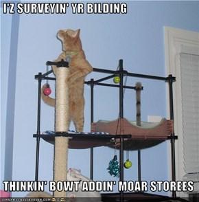 I'Z SURVEYIN' YR BILDING   THINKIN' BOWT ADDIN' MOAR STOREES