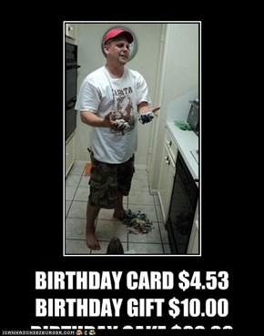 BIRTHDAY CARD $4.53 BIRTHDAY GIFT $10.00 BIRTHDAY CAKE $20.00 RUINA 5 YEAR OLD'S BIRTHDAY....PRICELESS BIRTHDAY CAKE $20.00