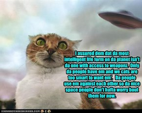 I assured dem dat da most intelligent life form on da planet isn't da one with access to weaponz.  Only da people have em and we cats are too smart to want em'.   Da people use em against each other so da nice space people don't hafta worry bout them for
