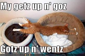 My getz up n' goz  Gotz up n' wentz