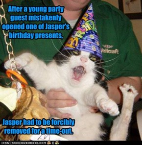 After a young party guest mistakenly opened one of Jasper's birthday presents,