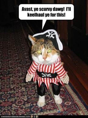 Avast, ye scurvy dawg!  I'll keelhaul ye for this!