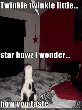 Twinkle twinkle little... star howz I wonder... how you taste