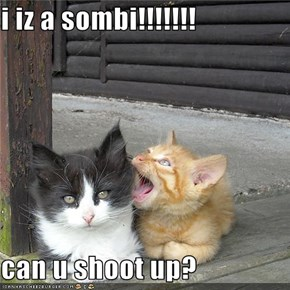 i iz a sombi!!!!!!!  can u shoot up?