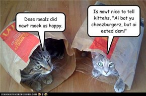 Ai bot yu cheezburgerz... but ai eeted dem!
