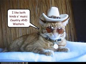 I like both kinds o' music:  Country AND Western.