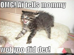 OMG! Ai tells mommy  wot yoo did der!