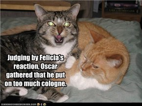Judging by Felicia's reaction, Oscar gathered that he put on too much cologne.