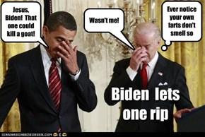 Biden lets one rip