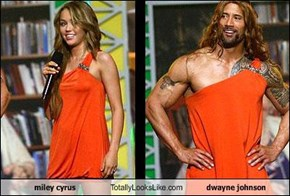 miley cyrus Totally Looks Like dwayne johnson