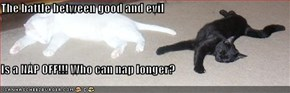 The battle between good and evil  Is a NAP OFF!!! Who can nap longer?