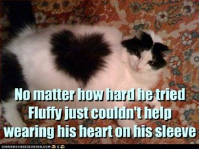 No matter how hard he tried Fluffy just couldn't help  wearing his heart on his sleeve
