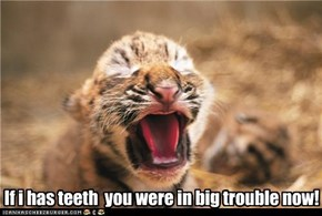 If i has teeth  you were in big trouble now!