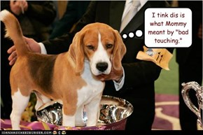 """I tink dis is what Mommy meant by """"bad touching."""""""