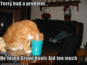 Terry had a problem...  He luved Grape Kools Aid too much