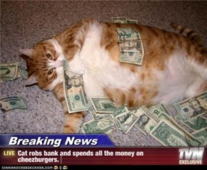 Breaking News - Cat robs bank and spends all the money on cheezburgers.