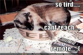 so tird..... cant reach.... remote... :(