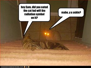 hey Sam, did you eated  the cat fud wiff the  radiation symbol on it?