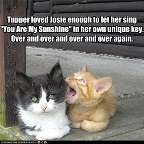 "Tupper loved Josie enough to let her sing ""You Are My Sunshine"" in her own unique key. Over and over and over and over again."