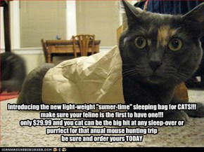 "Introducing the new light-weight ""sumer-time"" sleeping bag for CATS!!! make sure your feline is the first to have one!!! only $29.99 and you cat can be the big hit at any sleep-over or purrfect for that anual mouse hunting trip be sure and order yours TOD"