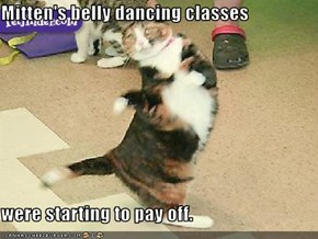 Mitten's belly dancing classes  were starting to pay off.