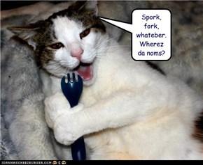Spork, fork, whateber.  Wherez da noms?